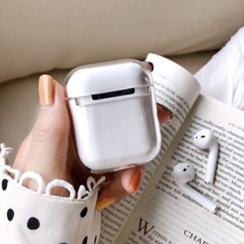 AirPods Case Protective Cover [Front LED Visible] Shockproof Hard PC Protective Transparent Skin Case Compatible with Apple AirPods 2 & 1(Clear)
