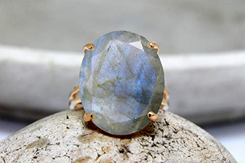 Anillo de labradorita, anillo de diente, anillo de cóctel, anillo de oro rosa, anillo de piedras preciosas, anillo ovalado,...