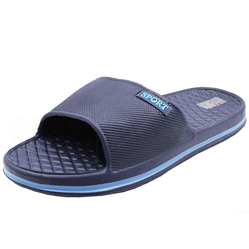 Cammie Men's Slip On Sport Navy/Aqua Slide Sandals 10 D(M) US