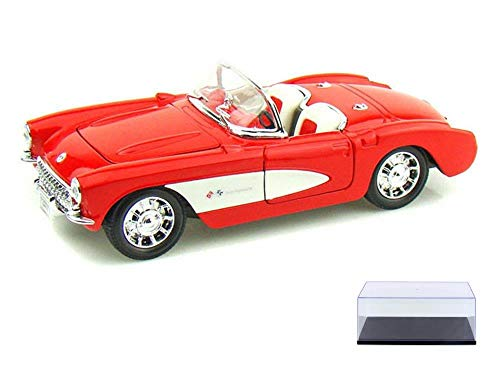 (Welly Diecast Car & Display Case Package - 1957 Chevy Corvette Convertible, Red 29393 - 1/24 Scale Diecast Model Toy Car w/Display Case)