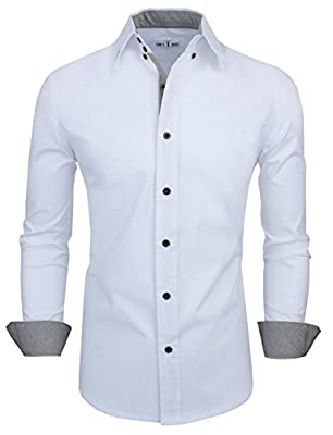 Tom's Ware Mens Classic Slim Fit Contrast Inner Long Sleeve Dress Shirts