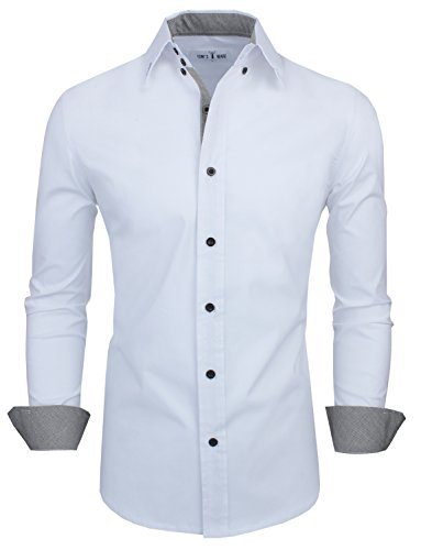 Tom's Ware Mens Classic Slim Fit Contrast Inner Long Sleeve Dress Shirts...