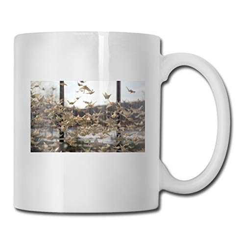 Porcelain Coffee Mug Origami Crane Line Ceramic Cup Tea Brewing Cups for Home Office ()