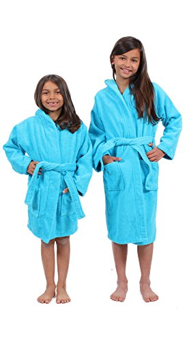 Turkuoise 100% Turkish Cotton Terry Hooded Eco-Friendly Kids Bathrobe-Girls (Girls Robe)