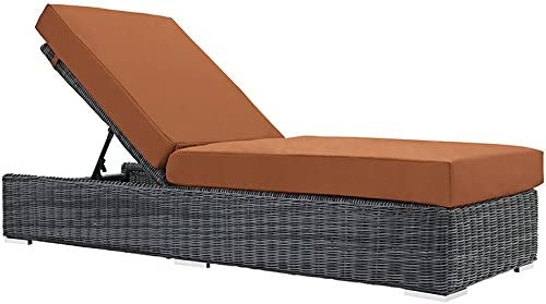 Modway Summon Outdoor Patio Chaise Lounge With Sunbrella Brand Tuscan Orange Canvas Cushions