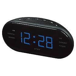 Elong Large LED Digital AM FM Radio Alarm Clock Desk and Shelf Clocks With Backlight Blue