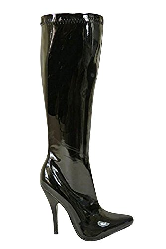 ZIP HEEL KITTEN FETISH POINTY PATENT 12151 Black FULL LADIES KNEE SIDE TOE SEXY WOMENS Patent HIGH BOOTS 7HUxqRvw
