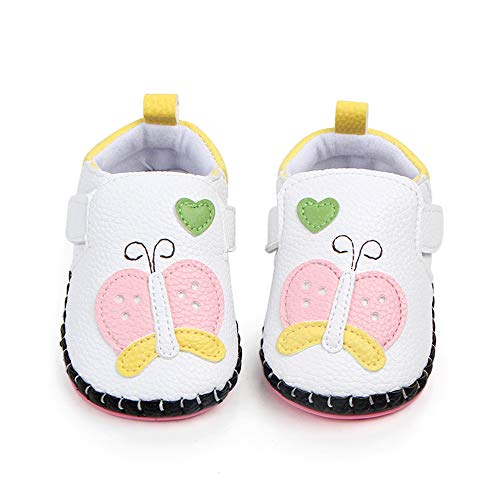 PanGa Baby Boys Girls Non-Slip Hard Bottom Rubber Sole Pu Leather Cartoon Toddler Infant First Walkers Slippers Sneakers Crib Shoes (12-18 Months, White-Butterfly)