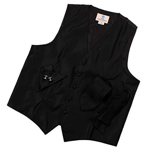 Solid Black Formal Vest for Men Patterned for Mens Gift Idea with Neck Tie, Cufflinks, Handkerchief, Bow Tie for Suit Vs1003 (S)