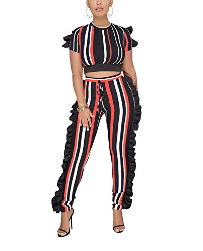 Dreamparis Women's Colorful Stripe 2 Piece Outfits Ruffle Jumpsuit Short Sleeve Crop Top + High Waist Skinny Pants Set X-Large Orange