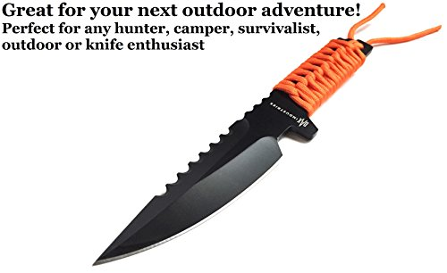 DAX Industries Fixed Blade Survival Knife With Magnesium Fire Starter, 4 Inch Full Tang Blade, Stainless Steel, Protective Nylon Sheath Included