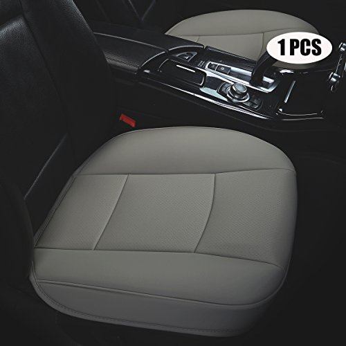 (EDEALYN Ultra-Luxury PU Leather Car Seat Cushion car seat Cover for Most Four-Door Sedan&SUV,Single seat Without backrest 1pcs(W20.5× D21×T 0.35 inch) (3D -)