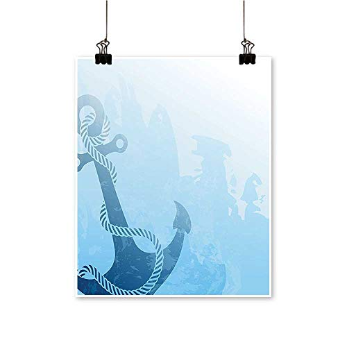 Single Painting ochrome Anchor Deep Down The Sea Bottom Be Str Stable Light Blu Office Decorations,32