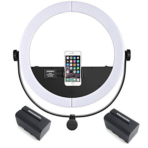 YONGNUO YN508 two-in-one LED video light Photography Beautify LED Ring Light 3200K~5500K for Smartphone DSLR Camera + 2PCS WINGONEER NP-F770 Battery and Battery Charger by YONGNUO WINGONEER