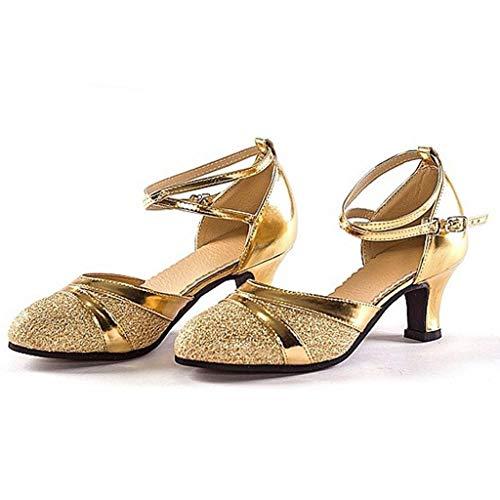 Oro Tango Cuadrados Con Salsa Secundaria Social Baile Latino Lentejuelas Adultos Escuela Fondo Zapatos Suave Para De Latina qaISSO