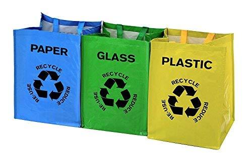 LIVIVO ®: Set de 3 grandes bolsas con asas y fijaciones multicolores, resistentes, reutilizables. Separar los residuos de tu hogar con etiquetas y bolsas de ...