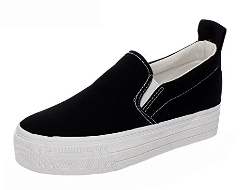 Popuus Womens Brief Canvas Schoenen Loafers Zwart