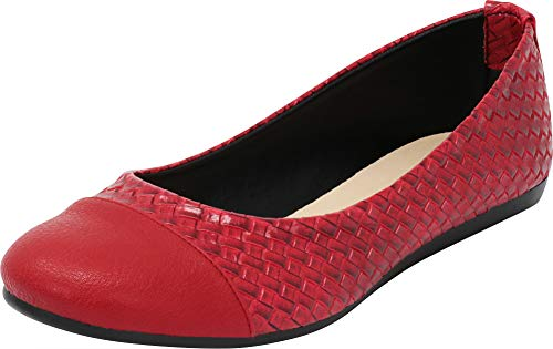 Cambridge Select Women's Closed Round Cap Toe Woven Comfort Ballet Flat,10 B(M) US,Red PU by Cambridge Select
