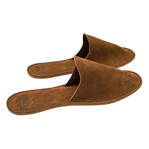Small Leather House Slippers (Men's 8-9.5) For Men Handmade by Hide & Drink :: Swayze Suede