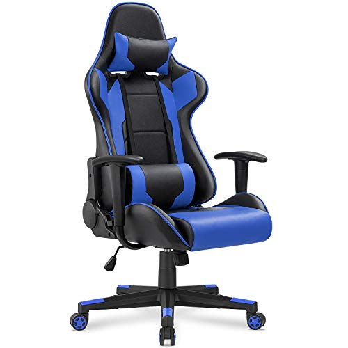 Homall Gaming Chair Office Chair High Back Computer Chair PU Leather Desk Chair PC Racing Executive Ergonomic Adjustable Swivel Task Chair with Headrest and Lumbar Support (Blue) ()