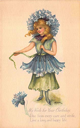 Artist Signed Birthday Postcard Young Blond Girl Dressed as a Flower~118966