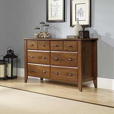 Bedroom Oak Vanity (Sauder Shoal Creek Dresser, Oiled Oak)