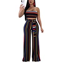 Women's Sexy 2 Piece Outfits Strapless Stripe Sleeveless Crop Top Wide Leg Long Pants Set Jumpsuit Romper