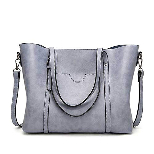 (Women Bag Oil Wax Women'S Leather Handbags Luxury Lady Hand Bags With Purse Pocket Women Messenger Bag Big Tote Bols,Light Blue)