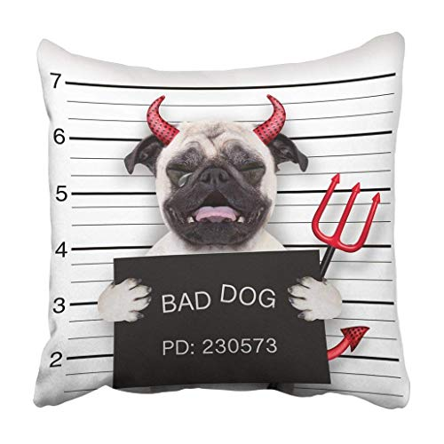 Custom Halloween Devil Pug Dog Crying in Mugshot Caught On with Camera Police Station Jail Pillowcase 20x20 inch ()