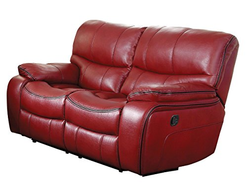 Homelegance Pecos Modern Design Double Reclining Love Seat Leather Gel Match, Red