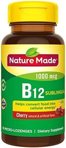 Nature Made Sublingual Vitamin B12 1000 mcg Micro-Lozenges, 50 Count (Packaging May Vary)