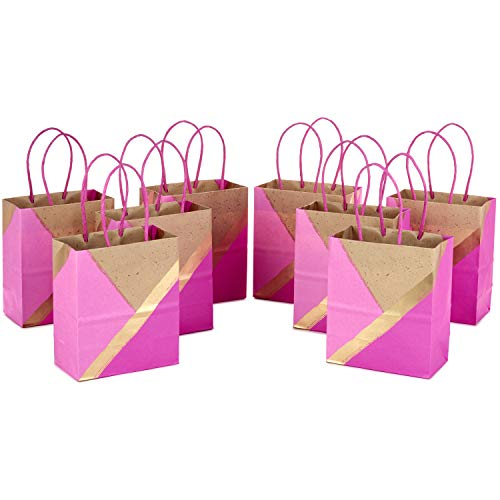 Hallmark Small Paper Gift Bags for Birthdays, Weddings, Mother's Day, Baby Showers, Bridal Showers, and More (Pink and Kraft, Pack of - Pink Bags Brown Gift