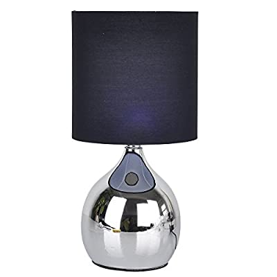 """Touch Lamps Bedside 4 stage 12""""H Chrome Table Desk Light Fabric Shades"""