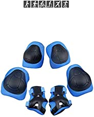 Kids/Youth Protective Gear, Knee Pads and Elbow Pads 6 in 1 Set for Roller Skates Cycling Skateboard Inline Sk