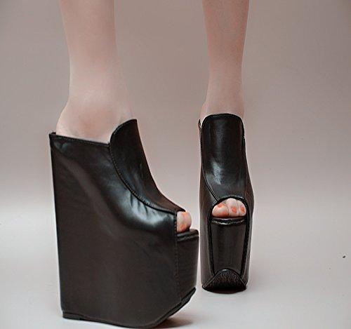 XiaoGao 17 cm. super zapatillas de tacon,Black