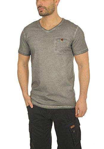 Algodón Mid Hombre 2842 Manga Básica Camiseta Para solid Grey neck V 100 De Tinny T shirt Con Corta 6SzxqZfwx