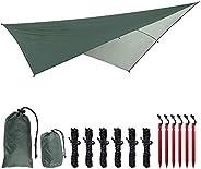 3*3M Waterproof Camping Tent Tarp,Hammock Rain Fly Tent Tarp,Portable Lightweight Basha Sunshade for Snow Suns