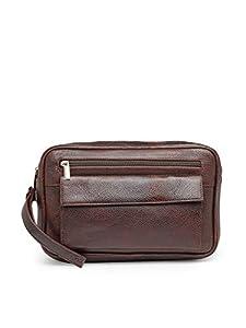 Teakwood Genuine Leather Sling Messenger Bag    Lightweight messenger Bags for Travelling (BROWN)