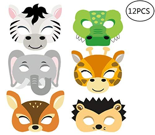 12pcs Animal Masks Zoo Theme Eye Masks, Party Supplies For Kids Birthday, Dress-Up Parties -