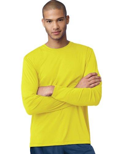 Hanes Cool DRI'Performance mens Long-Sleeve T-Shirt,Safety Green,Medium