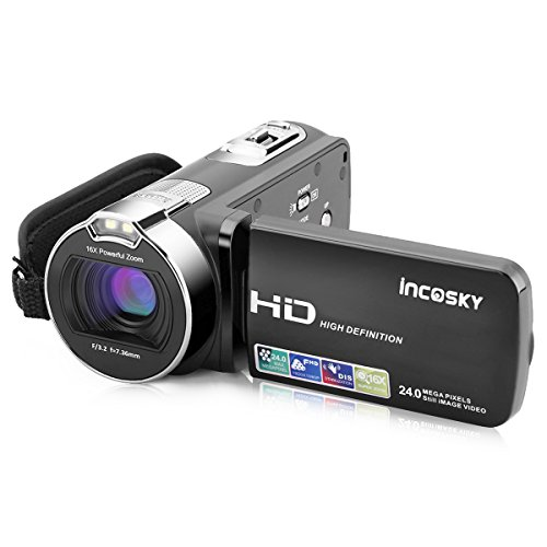 Video Camera Camcorder, incoSKY 1080P 24MP 16X Digital Zoom Camera with 2.7″ TFT LCD 270 Degree Rotation Screen, Black