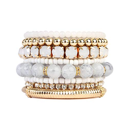 RIAH FASHION Multi Color Stretch Beaded Stackable Bracelets - Layering Bead Strand Statement Bangles ([S-M] Natural)