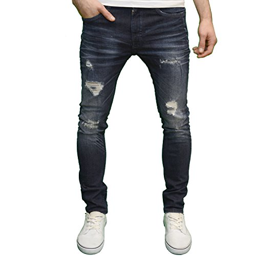 DML Jeans Men's Skinny Fit Straight Leg Stretch Ripped Detail Denim Jeans (30W x 32L, Darkwash)