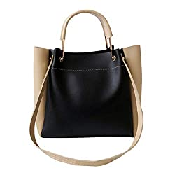 Women Bag Ieas?��n Retro Trendy Ladies Leather Color Matching Versatile Handbag Shoulder Bag Small Bag