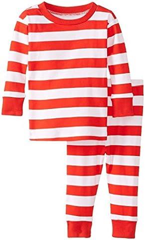 New Jammies Baby Girls' Organic Pajamas Stripes, Red, 12 Months