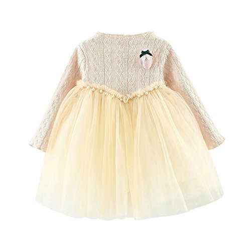 Baby Dress Fall Winter strawberry Girls accessories Jersey Tutu brochette Sleeve Knitted Solid Beige Tulle Color Dresses Infant Toddler Floral PanDaDa Long With Spring Pleased Splice Fwq8xB5cg