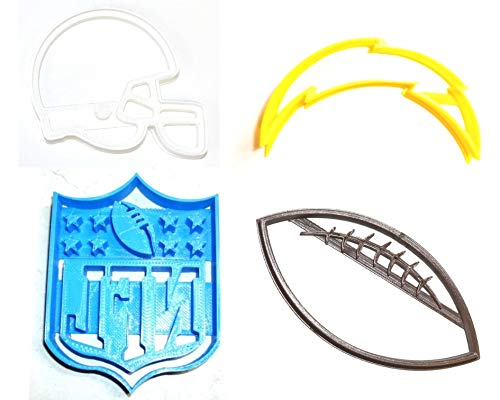 LA CHARGERS NFL FOOTBALL LOGO HELMET SET OF 4 SPECIAL OCCASION COOKIE CUTTERS BAKING TOOL 3D PRINTED MADE IN USA PR1127
