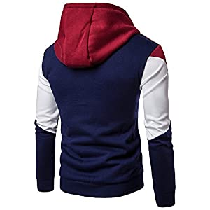 Men's Hoodies Pullover Long Sleeve Zip Color Splicing Sweatshirt Sport Men Coat
