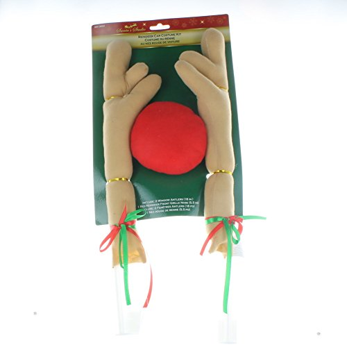 Christmas Car Costume Antler Kit With Red Nose By Santa's Studios (Holiday Car Costume)