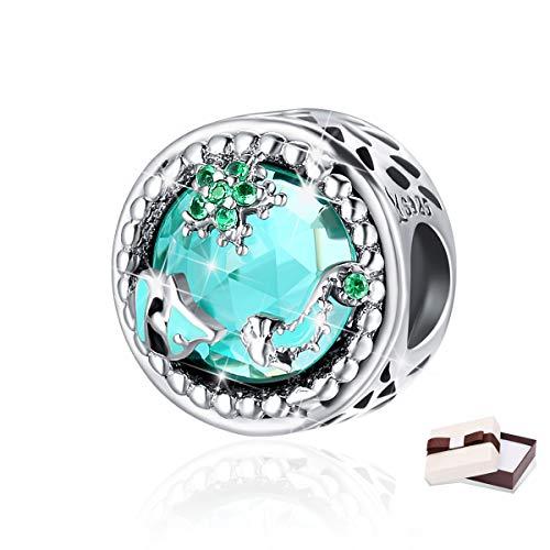 Sterling Bracelet Silver Crystal (BAMOER Sterling Silver Mystery Ocean Crystal Bead Charms for DIY Jewelry Bracelet)